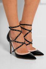 NIB Valentino Love Latch Eyelet Gladiators Strappy rockstud black nude Shoes 36