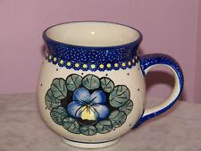 Genuine Polish Pottery 10 oz Medium Bubble Mug! UNIKAT Mila Pattern!