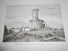 1845 Acquaforte VILLAGGIO DELLA TURBIA E ROVINE TROFEO DI AUGUSTO NIZZA NICE