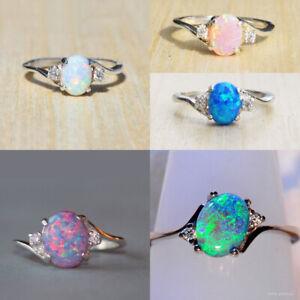 Women Fashion 925 Silver Wedding Oval Cut Opal  Rings Jewelry Size 6-10