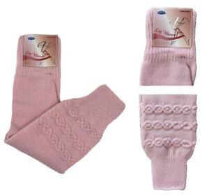Crochet Knit Ribbed Leg Warmers Knee High Winter Boot Wool Sock Long Pink NWT
