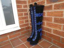 Negro/Azul Efecto Ante & PU sobre la rodilla Botas con cordones de plataforma talla 6 * * NUEVO Goth