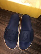 Fendi Men's navy leather & rubber Vocab Slides Sandal gum midsole US Sz 9-11