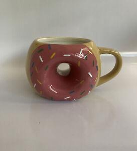 TAG Donut Coffee Mug Tea Cup Strawberry Pink Donut With Sprinkles 14 Oz