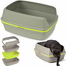 Cat Grey Scoopless Litter Tray Large or Jumbo Sifting Toilet Box High Sided XL