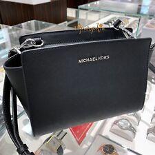 f4725be79e88e2 Michael Kors Selma Medium Messenger Saffiano Leather Crossbody Bag Black