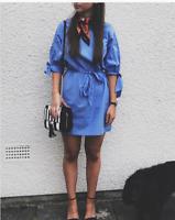 Topshop Blue Poplin Cotton High Neck Tie Sleeve Bow Dress UK 8 10 12 14 16 BNWT