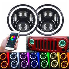 """7"""" RGB Angel Eyes LED Fern-Abblend Scheinwerfer Bluetooth für Jeep Wrangler 2x"""
