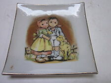 Vintage Japanese Porcelain Small Wall Square Plaque Boy & Girl Lamb Hummel Style