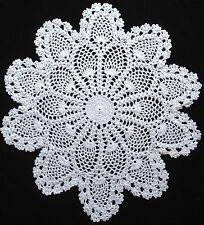 "handmade white 14"" 36cm vintage crochet lace doilie doily doiley round"