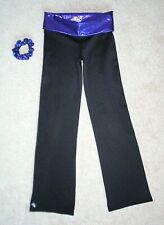 GS Gymnastics March In Competition Warm Up Pants Cheer Purple Foil YXL Scrunchie