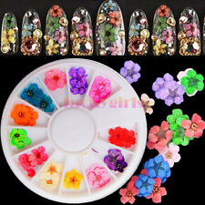 60pcs Nail Art True Dried Flower Sticker UV Acrylic Tips 3D DIY Decoration Wheel