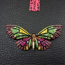 Cute Butterfly Charm Brooch Pin Betsey Johnson Enamel Rhinestone Crystal