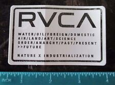 """Authentic RVCA Sticker White background Black lettering 3 1/2"""" x 2 1/8"""" COOL!!"""