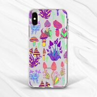 Funny Colorful Mushrooms Vegan Case For iPhone 6 7 8 Xs XR 11 Pro Plus Max