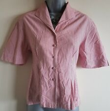 Size 8 Top NEXT Red White Striped Shirt Fitted Short Sleeved Women's