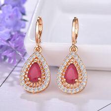 Xmas European Drop Style Rose Quartz Gemstone Yellow Gold Plated Dangle Earrings