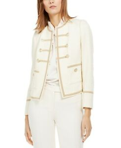 Anne Klein Women's Boucle Military Jacket Ivory Size 12
