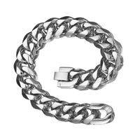 15mm Fashion Gift Stainless Steel Silver Cuban Chain Men's Bracelet Bangle 8.66""