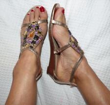 ROSE GOLD JEWEL embellished SANDALS 8 boho glam festival flat heel shoe NEW