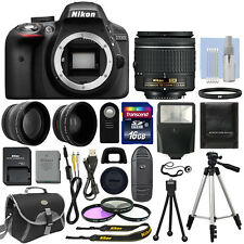 Nikon D3300 Digital SLR Camera Black + 3 Lens: 18-55mm Lens + 16GB Bundle