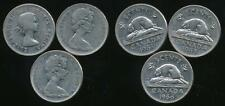 Canada, Group of 3 Elizabeth II 5 Cent Coins (1964, 1965, 1966) - Fine