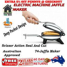 Sleek Stainless Steel Electric Machine Jaffle Maker Jumbo Size Cooking Plates