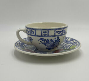 Gien Oiseau Bleu France Tea Cup & Saucer Blue
