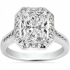 2 carat center Radiant cut Diamond Solitaire Halo Engagement Ring 100% Natural