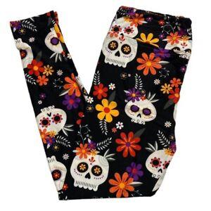 Lularoe Tc2 Halloween Leggings Sugar Skulls Skeleton Flowers  2021 Witch Please