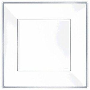 Amscan Elegant Square Plastic Plate Party Tableware and Reusable Dishware, 7...