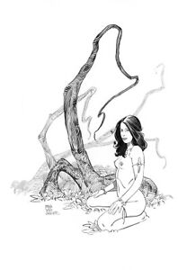 Sexy Jungle Girl fantasy pin up original  art  by Paradis