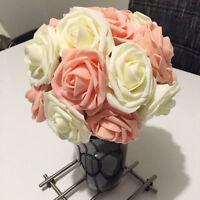 50pcs fleur artificielle Faux Rose Mousse tige mariée Bouquet maison mariage PB