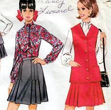 "Vintage 60 s mod JUPE VESTE BLOUSE sewing pattern buste 34"" Taille 10 Retro Costume"