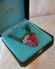 2004 JUICY COUTURE Pink Pave Strawberry Pendant NEVER WORN - MINT IN BOX