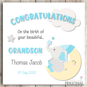 New Grandson Card Congratulations Grandparents It's a Baby Boy Personalised Card