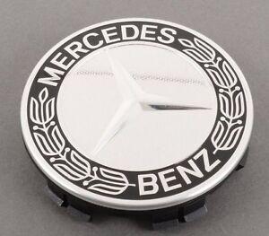 Mercedes-Benz Genuine Chrome With Black Wheel Center Hub Cap NEW OEM