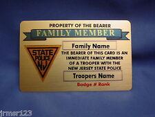 NJSP LIFETIME FAMILY MEMBER CARD IN BRASS  NEW JERSEY STATE POLICE-FOP-PBA