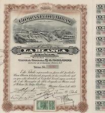 MEXICO LA BLANCA MINING COMPANY BOND stock certificate 1922 W/COUPONS
