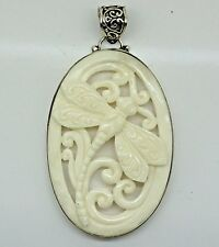 UNIQUE Handcrafted Carved Bone Dragonfly pendant (45x30) in 925 Sterling Silver