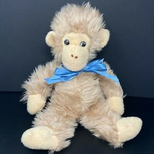 "Knickerbocker Animals Of Distinction Monkey Plush 17"" Tan Blue Bow Chimp Ape"