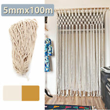 100M 5mm DIY Macrame Rope Natural Beige Cotton String Twisted Cord Hand Craft