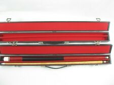 2,VINTAGE Pool Cue Stick with wooden, grip handle & hard carry case His -Her