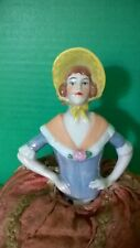 Antique Half Doll with Bonnet and Luster Paint on Bodice - Pincushion