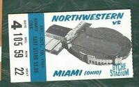1963 10/19 football ticket stub Miami of Ohio Redskins v Northwestern Wildcats