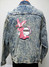 vtg ENERGIZER BUNNY ACID WASH Blue Jean Jacket XL batteries trucker denim 80s US