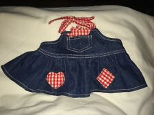 Build a Bear Jean Dress/Apron with Red/White Gingham Print Trim