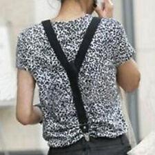 Mens Womens Clip-on Belt Suspenders Elastic Y-Shape Adjustable Braces Black