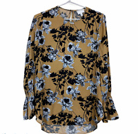Witchery Womens Gold Floral Long Flounce Sleeve Blouse Size 6