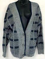 Vintage Hooper Cardigan Sweater V Neck Gray Striped Knit Lambs Wool Angora M